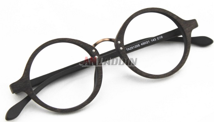 ac7a8154b0be4 men s wood grain retro round glasses frames - Anladdin.com