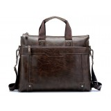 14-inch men's leather laptop single-shoulder bag / handbag