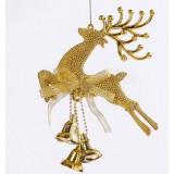 20cm golden Christmas elk + bell pendant