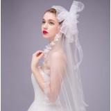 250cm white big flowers bridal veil