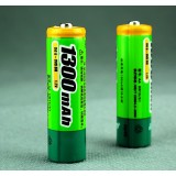 2pcs 1300mAH AA NiMH rechargeable batteries