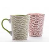 2pcs 350ml diamond pattern ceramic mug