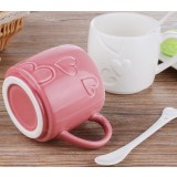 2pcs heart patterns lovers ceramic mug