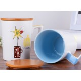 320ml painting wooden cover ceramic mug