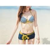 3pcs Striped + denim bikini swimsuit