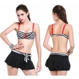 3pcs Stripes bikini swimsuit