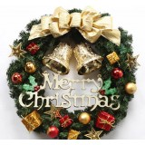 40cm golden bell + bow Christmas wreath