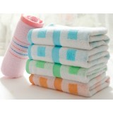 5pcs light colored checkered cotton towels