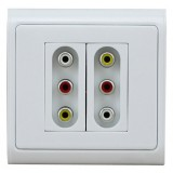 611HK +611 HK AV 3RCA Audio Video Wall Plate