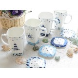 700ml blue sea style ceramic mug