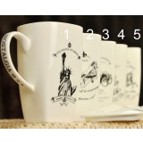 700ml square painting ceramic mug