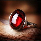 925 silver synthetic garnet ring
