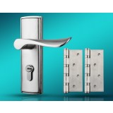 Alloy single tongue door lock + stainless steel hinges