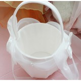 Beige Double Bow Flower Girl Baskets