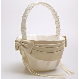 Beige Satin Wedding Flower Girl Baskets