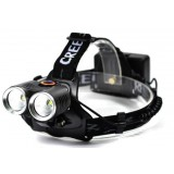 Black 18650 CREE T6 dual LED headlamp