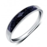 Black agate men's classic sterling silver ring
