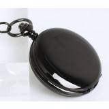 Black round manual mechanical necklace watch