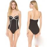 Black + white lines sexy one-piece swimwear