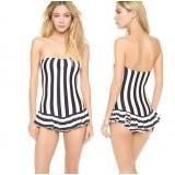 black + white stripes one-piece swimwear