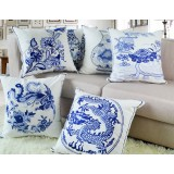 Blue and white embroidered pillow