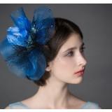 Blue feather bridal headwear