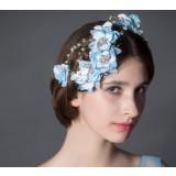 Blue flowers rhinestones bridal hair accessories