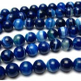 Blue stripes agate beads chain