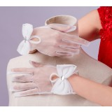 Bow short style mesh bride gloves