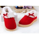 Bow solid color plush slippers