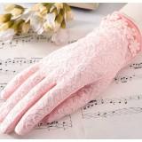 Brief paragraph ladies ice silk flower uv prevented gloves