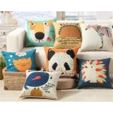 Cartoon animals linen pillowcase