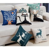 Cartoon printed linen throw pillow