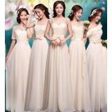 Champagne color lace bridesmaid dresses