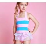 Children striped bow one-piece swimwear