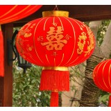 Chinese style red flannel wedding lanterns