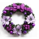 Classic 40cm purple bow Christmas wreath