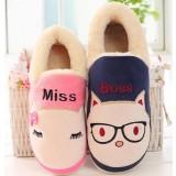 Couples cartoon plush slippers