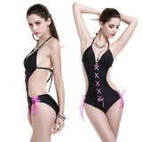 Cross straps sexy one-piece swimwear