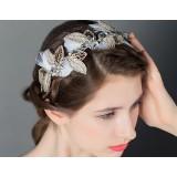 Crown white feather bridal headwear