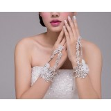 Crystal + flowers bridal bracelet
