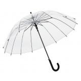 Curved handle semi automatic transparent umbrella