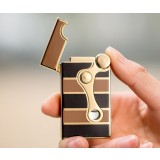 Double flame metal wheeled windproof lighter