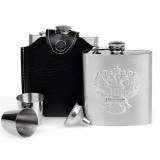 Eagle patterns 6oz stainless steel hip flask
