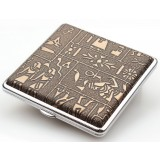 Egyptian style steel + leather automatic cigarette case