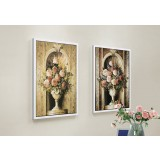 European style floral two-panels oil painting