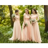 European style pink bridesmaid dress