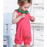 Female baby strawberry sleeveless jumpsuits