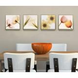 Floral four-panels oil painting