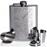Floral patterns 8oz stainless steel hip flask